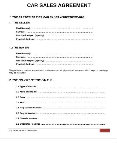 Vehicle Purchase Agreement Template Sample Car Purchase Agreement 6 Examples In Word Pdf