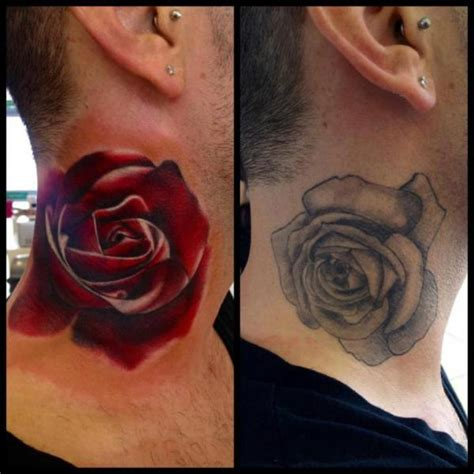 red rose tattoo cover up neck cover up design best ideas gallery
