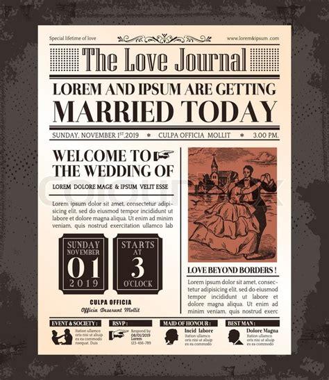 layout zeitung vorlage vintage zeitung hochzeit einladung kartendesign