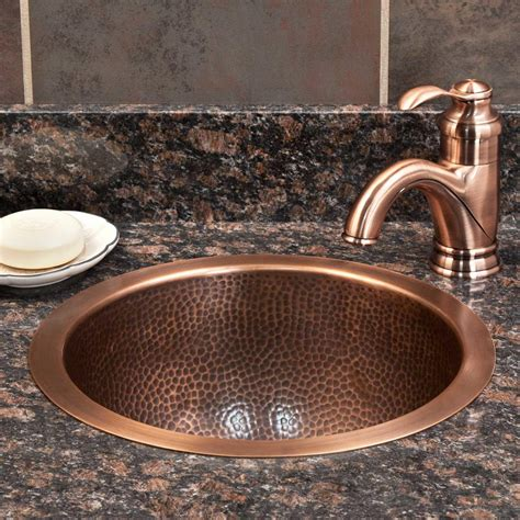 hammered copper bathroom sinks 14 quot baina hammered copper sink bathroom