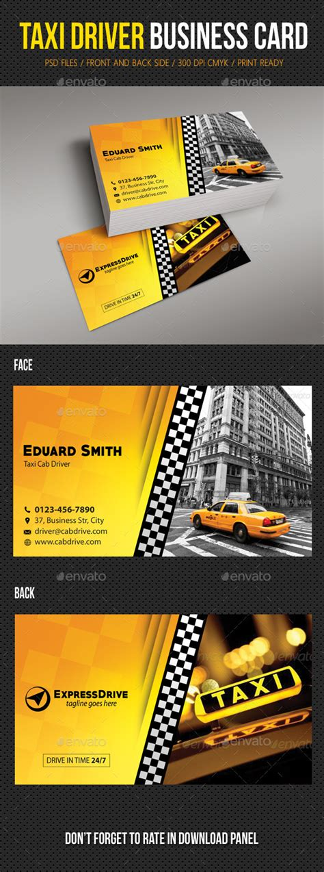 cab driver business card template taxi driver cab business card graphicriver