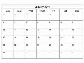 2011 Calendar Template by Free 2011 Monthly Calendar Template