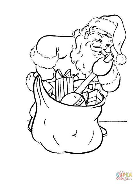 santa bag coloring page santa is busy packing his bag coloring page free