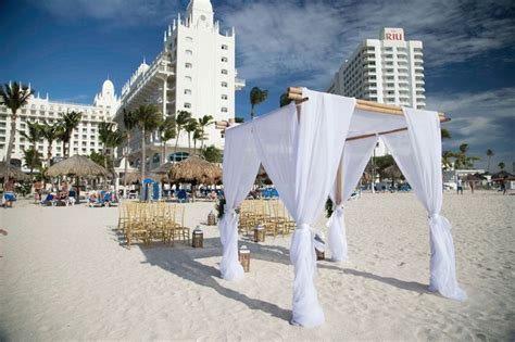 Beach wedding setting at Hotel Riu Palace Aruba