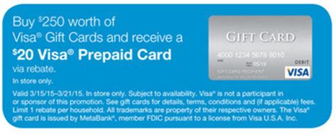 Visa Gift Card Deal - staples 20 rebate with 250 in visa gift cards moneymaker