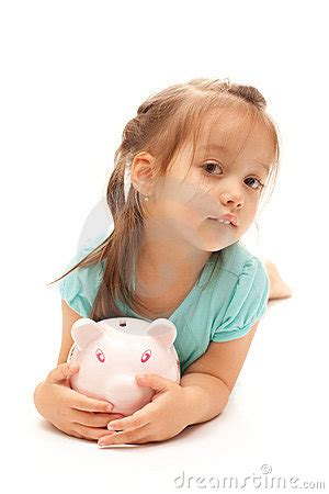 very young polska little friends young little girl holding a piggy bank stock photography