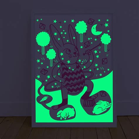 Glow In The Dark Poster | leo bella omy glow in the dark bunny pink poster