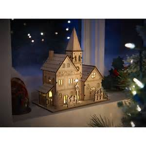 wilko nordic country ornament wooden light up church