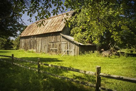 Country House Plans Online by Old Rustic Barn And Wooden Fence Photograph By Randall Nyhof