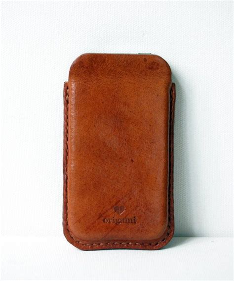 Handmade Leather Cell Phone Cases - cognac iphone handmade leather mobile phone