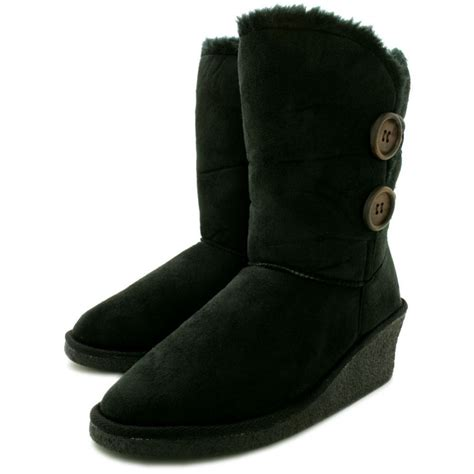buy talia wedge heel faux fur winter ella boots black