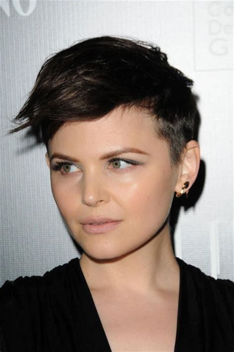 shaved side and side swope bang ginnifer goodwin s short pixie cut with buzzed or shaved