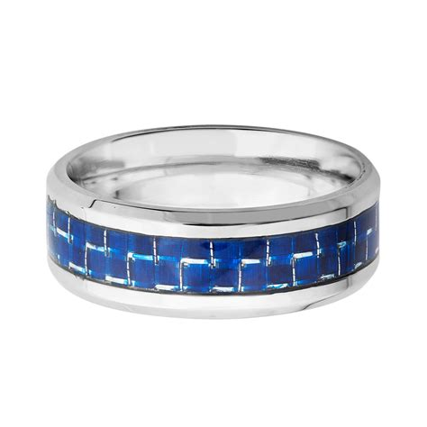 Carbon Fiber Stainless Steel stainless steel blue carbon fiber inlay ring size 7 carbon fiber jewelry touch of modern