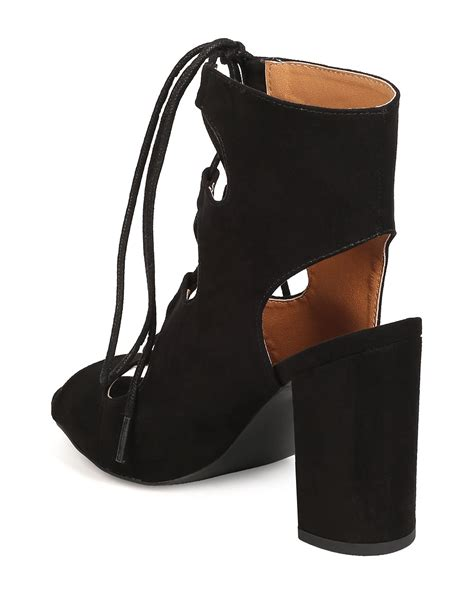 shoes qupid fc33 faux suede peep toe lace up chunky heel
