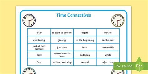 Connective Word Mat by List Of Time Connectives Time Conjunctions Time