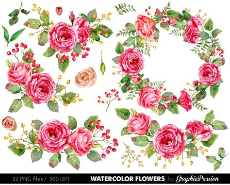 Wedding Flower Clipart by Watercolor Flower Clipart Wedding Floral Clip Floral