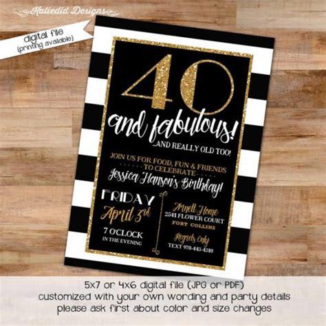 40th Birthday Invitation Black And White Stripe Gold Retirement Surprise Party Graduation Black White And Gold Invitation Templates