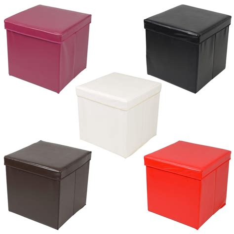 Ottoman Large Faux Leather Folding Storage Pouffe Toy Box Ottoman Stool Storage