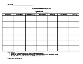monthly student behavior chart template by danielle garzon