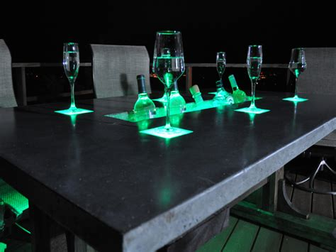 diy led light table led concrete patio table with built in beverage cooler