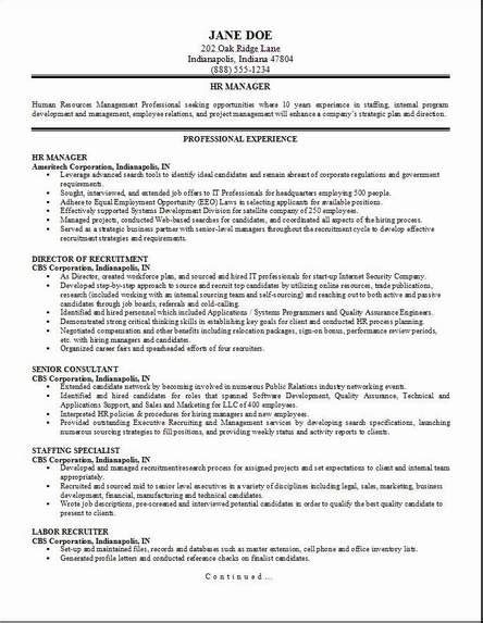 hr manager sle resume hr management resume occupational exles sles free