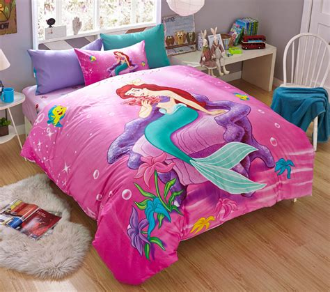 New 2015 Disney Little Mermaid Bedding Set 4pc Queen Bed Mermaid Bedding Set
