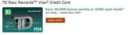 easy credit bank td easy rewards visa credit card 200 sign up bonus 5x