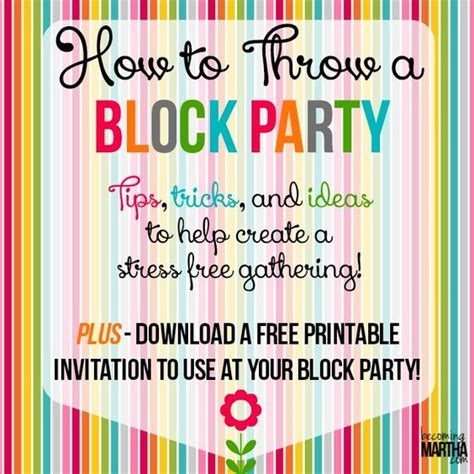 block invitation template how to throw a block printable invitation template