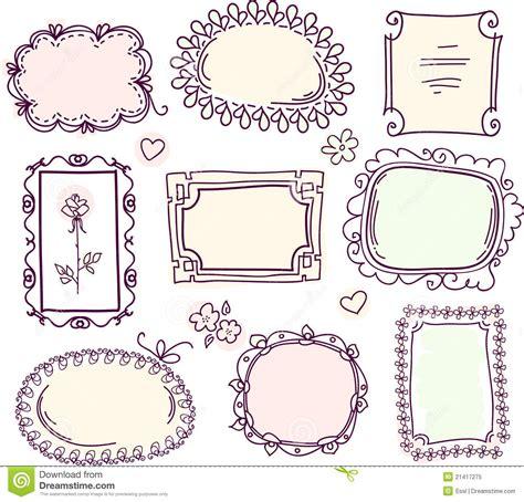 doodle free text option doodle floral frame set stock vector illustration