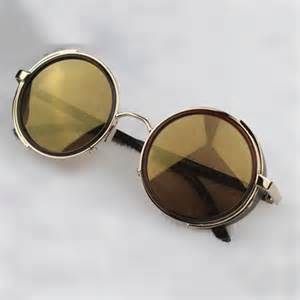 steampunk glasses gold amp brown with side shades