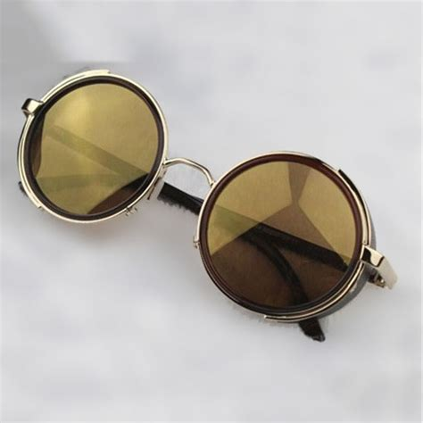 with goggles steunk glasses gold brown with side shades
