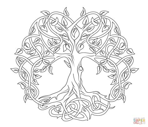 Coloring Tree by Coloring Pages Celtic Tree Of Coloring Page Free
