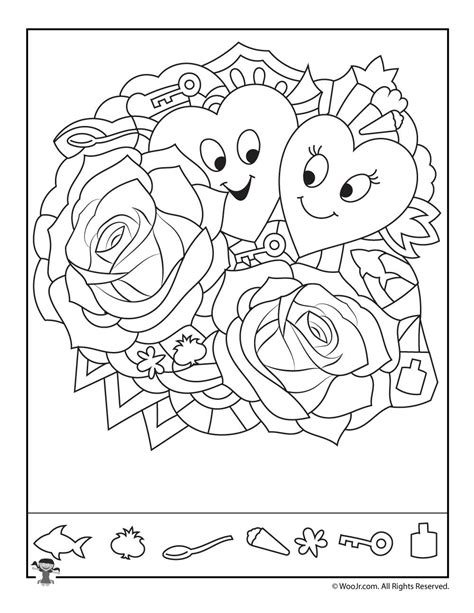 free printable hidden pictures for valentines day hearts and roses find the item puzzle woo jr kids