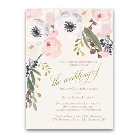 wedding invitation card template blush blush gold watercolor floral boho chic wedding invitations