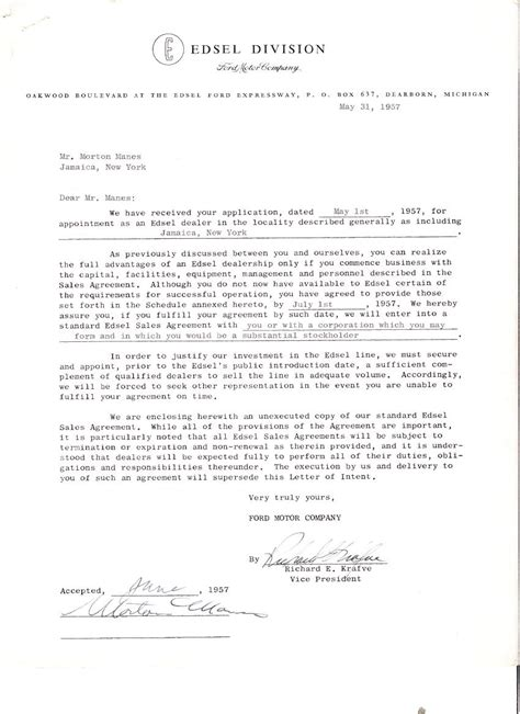 Letter Of Intent To Purchase Motor Vehicle Edsel Historical Documents