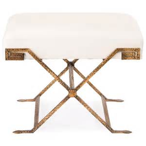 Gold Leather Ottoman Wagner Regency Antique Gold White Leather Stool Ottoman Kathy Kuo Home