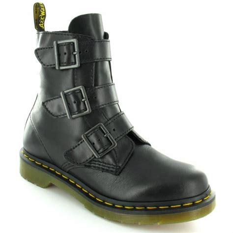 dr martens womens leather 3 buckle ankle boots