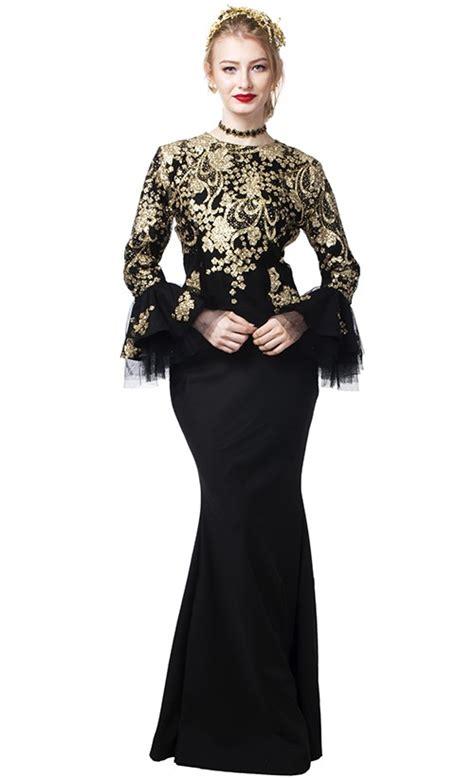 Baju Fashion Wanita Yuki Ruflle vee ruffled sleeves baju kurung in black and gold fashionvalet
