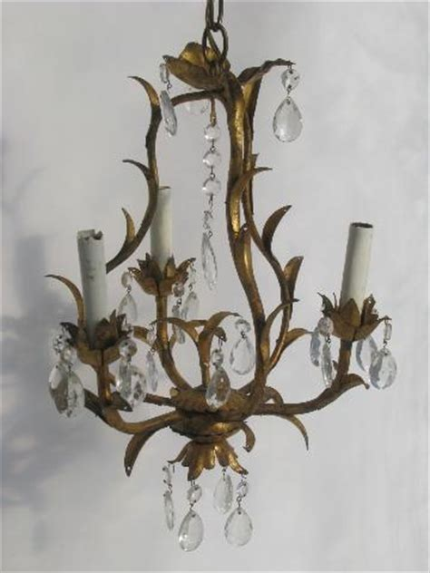 Chandelier Candle Wall Sconce Vintage Italian Tole Candle Chandelier Wall Sconce Light Gilt Metal W Glass Prisms