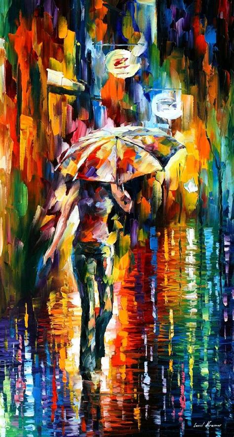 paint styles umbrella palette knife oil painting on canvas by leonid