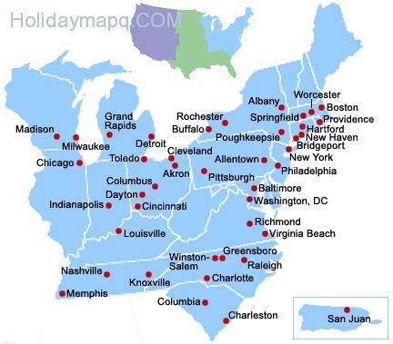 east coast usa maps with states and cities map of eastern us map q holidaymapq