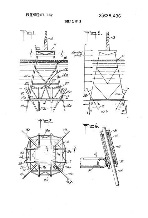 offshore jacket design exle patent us3638436 reversed slope skirt pile marine