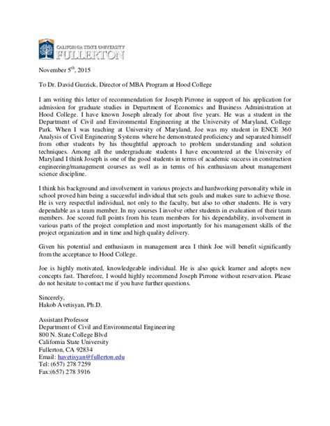 Mba Professor Recommendation by Recommendation Letter For Joseph Pirrone Hakob Umd Professor