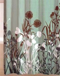 aqua and brown shower curtain floral teal brown white aqua plant silhouette quality
