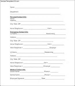 Employee Information Form Template by Emergency Contact Information Form Of Employee Sle