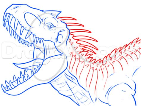Drawing T Rex Step By Step by Step 6 How To Draw Indominus Rex From Jurassic World