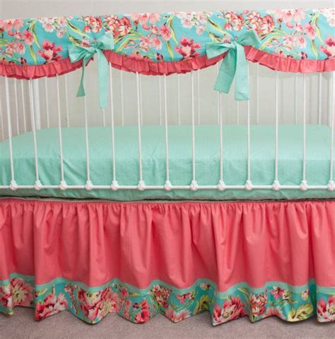 mint and coral baby bedding bumperless teal coral and mint designer baby girl crib bedding with crib rail guard