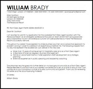 front desk agent cover letter sample livecareer