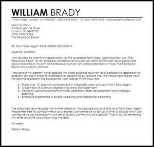 Front Desk Agent Cover Letter Sample Livecareer
