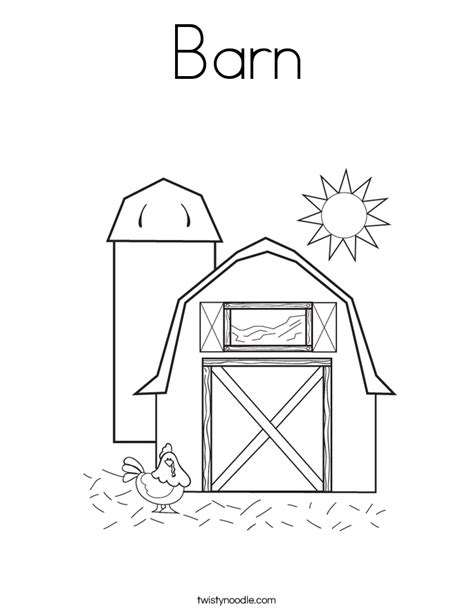 Barn Coloring Page Twisty Noodle Barnyard Coloring Pages